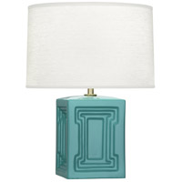 Williamsburg Nottingham 18 inch 100 watt Blue Green with Modern Brass Accent Lamp Portable Light in Mayo Teal