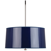 Penelope 3 Light 26 inch Polished Nickel Pendant Ceiling Light in Navy Ceramik Parchment