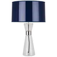 Penelope 30 inch 150 watt Clear Glass w/ Polished Nickel Table Lamp Portable Light in Navy Ceramik Parchment