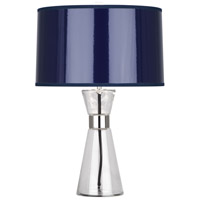 Penelope 21 inch 100 watt Clear Glass w/ Polished Nickel Table Lamp Portable Light in Navy Ceramik Parchment