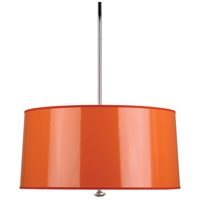 Robert Abbey O808 Penelope 3 Light 15 inch Polished Nickel Pendant Ceiling Light in Orange Ceramik With Silver Mylar