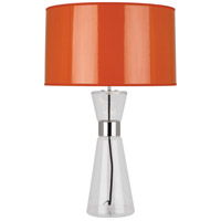 Robert Abbey O809 Penelope 30 inch 150 watt Clear Glass with Polished Nickel Table Lamp Portable Light in Orange Ceramik With Silver Mylar