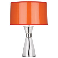 Robert Abbey O810 Penelope 21 inch 100 watt Clear Glass with Polished Nickel Accent Lamp Portable Light in Orange Ceramik With Silver Mylar