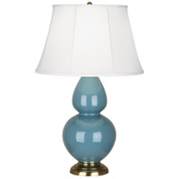 Robert Abbey OB20 Double Gourd 31 inch 150 watt Steel Blue Table Lamp Portable Light in Antique Brass Ivory Silk