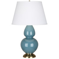 Robert Abbey OB20X Double Gourd 31 inch 150 watt Steel Blue Table Lamp Portable Light in Antique Brass Pearl Dupioni