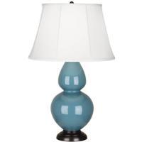 Robert Abbey OB21 Double Gourd 31 inch 150 watt Steel Blue Table Lamp Portable Light in Deep Patina Bronze Ivory Silk