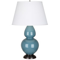 Robert Abbey OB21X Double Gourd 31 inch 150 watt Steel Blue Table Lamp Portable Light in Deep Patina Bronze Pearl Dupioni