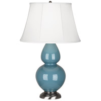 Robert Abbey OB22 Double Gourd 31 inch 150 watt Steel Blue Table Lamp Portable Light in Antique Silver Ivory Silk