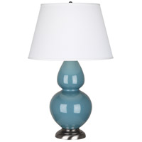 Robert Abbey OB22X Double Gourd 31 inch 150 watt Steel Blue Table Lamp Portable Light in Antique Silver Pearl Dupioni
