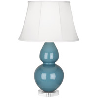 Double Gourd 30 inch 150 watt Steel Blue with Lucite Table Lamp Portable Light in Ivory Silk