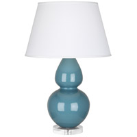 Robert Abbey OB23X Double Gourd 30 inch 150 watt Steel Blue with Lucite Table Lamp Portable Light in Pearl Dupioni Fabric