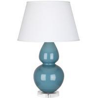 Robert Abbey OB23X Double Gourd 30 inch 150 watt Steel Blue Table Lamp Portable Light in Lucite Pearl Dupioni
