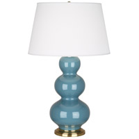 Robert Abbey OB40X Triple Gourd 33 inch 150 watt Steel Blue Table Lamp Portable Light in Antique Brass