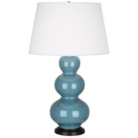 Robert Abbey OB41X Triple Gourd 33 inch 150 watt Steel Blue Table Lamp Portable Light in Deep Patina Bronze