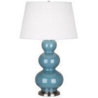 Robert Abbey OB42X Triple Gourd 33 inch 150 watt Steel Blue Table Lamp Portable Light in Antique Silver