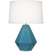 Robert Abbey OB930 Delta 23 inch 150 watt Steel Blue with Polished Nickel Table Lamp Portable Light in Oyster Linen