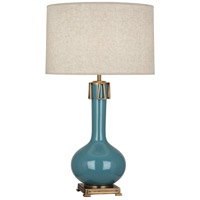 Robert Abbey OB992 Athena 32 inch 150 watt Steel Blue with Aged Brass Table Lamp Portable Light