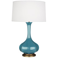 Robert Abbey OB994 Pike 32 inch 150 watt Steel Blue Table Lamp Portable Light in Aged Brass