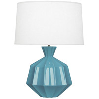 Robert Abbey OB999 Orion 27 inch 150 watt Steel Blue Table Lamp Portable Light Polished Nickel Accents