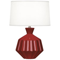 Robert Abbey OX989 Orion 18 inch 60 watt Oxblood Accent Lamp Portable Light Polished Nickel Accents