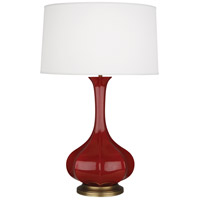 Robert Abbey OX994 Pike 32 inch 150 watt Oxblood Table Lamp Portable Light in Aged Brass