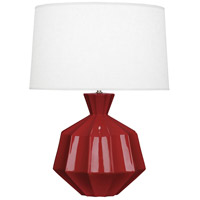 Robert Abbey OX999 Orion 27 inch 150 watt Oxblood Table Lamp Portable Light Polished Nickel Accents