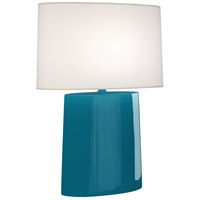 Robert Abbey PC03 Victor 26 inch 100.00 watt Peacock Glazed Ceramic Table Lamp Portable Light