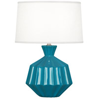 Robert Abbey PC989 Orion 18 inch 60 watt Peacock Accent Lamp Portable Light Polished Nickel Accents