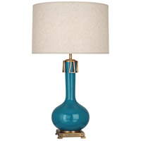 Robert Abbey PC992 Athena 32 inch 150 watt Peacock with Aged Brass Table Lamp Portable Light