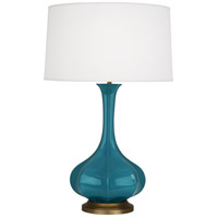 Robert Abbey PC994 Pike 32 inch 150 watt Peacock Table Lamp Portable Light in Aged Brass