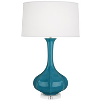 Robert Abbey PC996 Pike 33 inch 150 watt Peacock Table Lamp Portable Light in Lucite