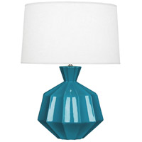 Robert Abbey PC999 Orion 27 inch 150 watt Peacock Table Lamp Portable Light Polished Nickel Accents