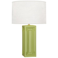 Williamsburg Nottingham 30 inch 150 watt Muted Chartreuse with Modern Brass Table Lamp Portable Light in Parrot Green