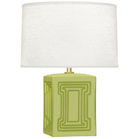 Williamsburg Nottingham 18 inch 100 watt Muted Chartreuse with Modern Brass Accent Lamp Portable Light in Parrot Green