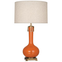 Robert Abbey PM992 Athena 32 inch 150 watt Pumpkin with Aged Brass Table Lamp Portable Light thumb