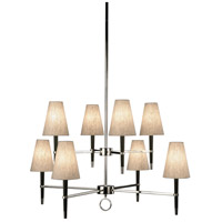 Robert Abbey PN673 Jonathan Adler Ventana 8 Light 15 inch Ebonyed Wood with Polished Nickeled Chandelier Ceiling Light