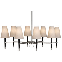 Jonathan Adler Ventana 8 Light 45 inch Ebony Wood w/ Polished Nickel Chandelier Ceiling Light