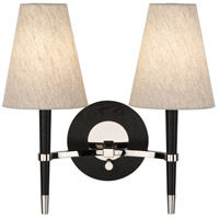 Robert Abbey PN771 Jonathan Adler Ventana 2 Light 17 inch Ebonyed Wood with Polished Nickeled Wall Sconce Wall Light