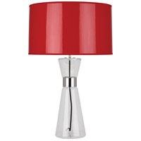 Robert Abbey R809 Penelope 30 inch 150 watt Clear Glass with Polished Nickel Table Lamp Portable Light in Red Ceramik With Silver Mylar