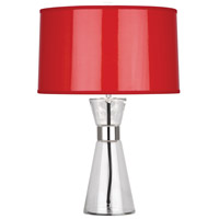 Robert Abbey R810 Penelope 21 inch 100 watt Clear Glass with Polished Nickel Accent Lamp Portable Light in Red Ceramik With Silver Mylar