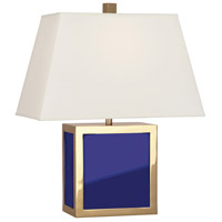 Robert Abbey RB840 Jonathan Adler Barcelona 20 inch 100 watt Polished Brass with Royal Blue Opaque Acrylic Table Lamp Portable Light in Royal Blue