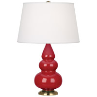 Robert Abbey RR30X Small Triple Gourd 24 inch 150 watt Ruby Red Accent Lamp Portable Light in Antique Brass