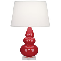 Robert Abbey RR33X Small Triple Gourd 24 inch 150 watt Ruby Red Accent Lamp Portable Light in Lucite