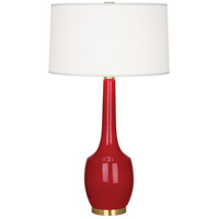 Robert Abbey RR701 Delilah 34 inch 150 watt Ruby Red with Antique Brass Table Lamp Portable Light