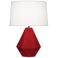 Robert Abbey RR930 Delta 23 inch 150 watt Ruby Red with Polished Nickel Table Lamp Portable Light in Oyster Linen