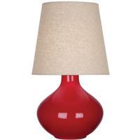 Robert Abbey RR991 June 31 inch 150 watt Ruby Red Table Lamp Portable Light in Buff Linen