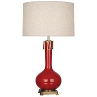 Robert Abbey RR992 Athena 32 inch 150 watt Ruby Red with Aged Brass Table Lamp Portable Light