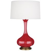 Robert Abbey RR994 Pike 32 inch 150 watt Ruby Red Table Lamp Portable Light in Aged Brass