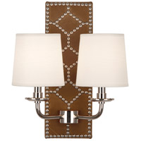 Robert Abbey S1030 Williamsburg Lightfoot 2 Light 14 inch English Ochre Leather with Polished Nickel Wall Sconce Wall Light