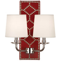 Robert Abbey S1031 Williamsburg Lightfoot 2 Light 14 inch Dragons Blood Leather with Polished Nickel Wall Sconce Wall Light
